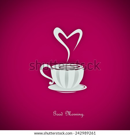 coffee-cup and hearts - stock photo