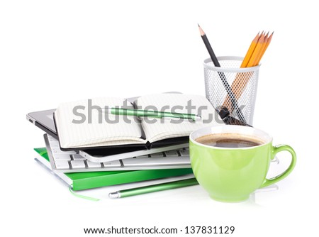 Coffee cup and office supplies. Isolated on white background - stock photo