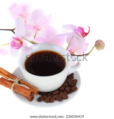 Coffee cup and pink orchid  on a white background - stock photo