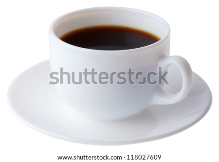 Coffee cup and plate isolated on white with clipping path - stock photo