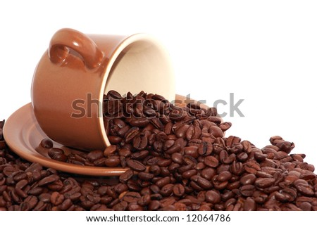 coffee cup and roasted coffee beans isolated on white - stock photo