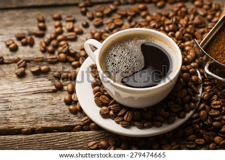 Coffee cup and saucer - stock photo