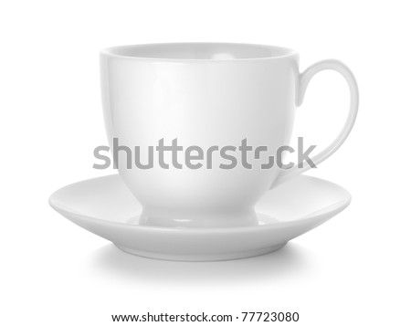 Coffee cup and saucer isolated on white background. Path - stock photo