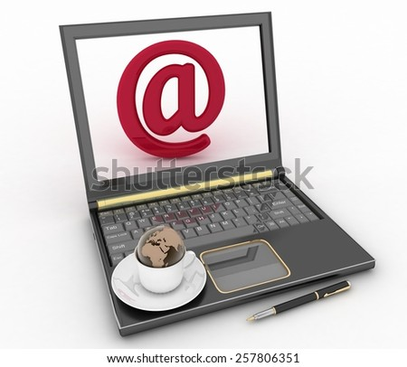 Coffee cup and saucer with a globe on a computer keyboard and e-mail sign. 3d illustration - stock photo