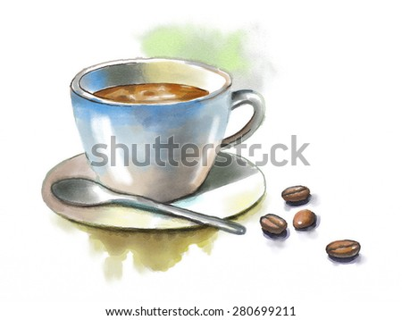 Coffee cup and some coffee beans. Original watercolor illustration. - stock photo