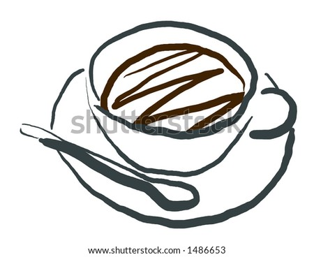 Coffee Cup and Sugar Spoon in Calligraphic Style - stock photo
