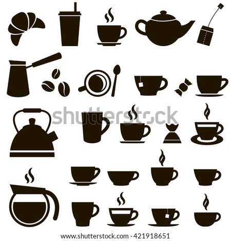 Coffee cup and Tea cup icon set. Raster version - stock photo