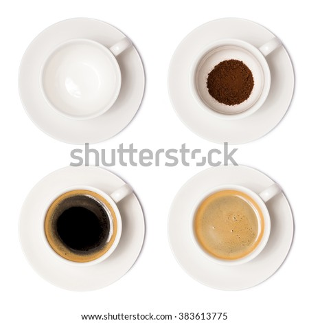 coffee cup assortment top view collection isolated on white background. with clipping paths. - stock photo