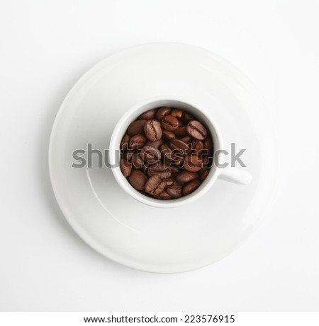 coffee cup beans - stock photo