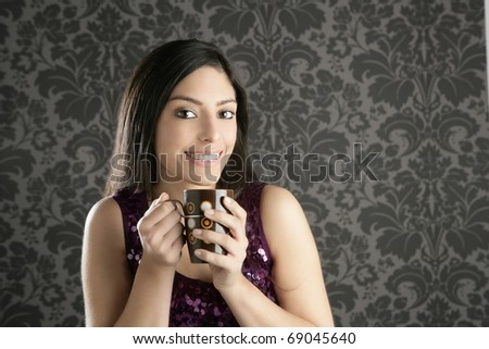 coffee cup brunette beautiful woman retro portrait gray wallpaper - stock photo