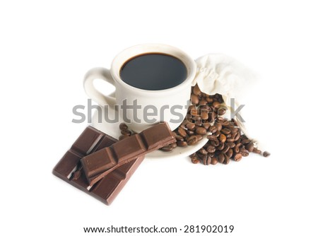 Coffee cup, chocolate and beans - stock photo