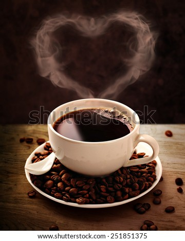 Coffee cup, coffee beans with clipping path- 2 - stock photo