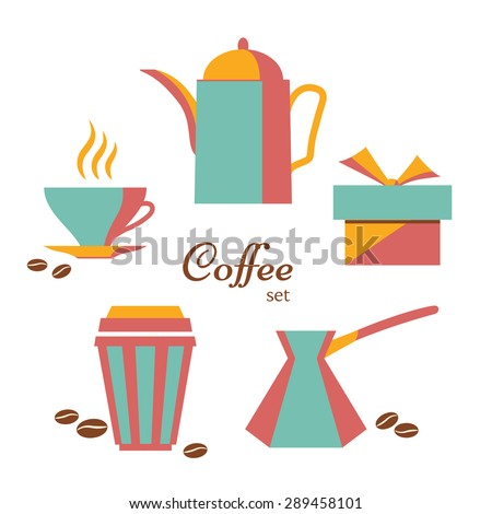 Coffee cup, coffee-pot, takeaway container, cake box and  ibrik. Set of coffee icons in flat style on white, raster illustration - stock photo