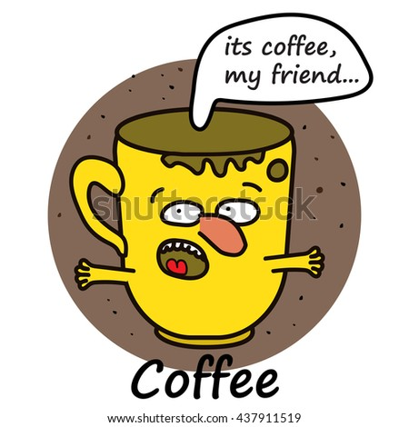 Coffee cup comic funny character - stock photo