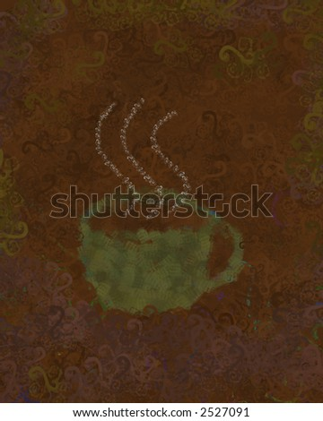 Coffee Cup - Design made from stamped scans of watercolor drawings - stock photo