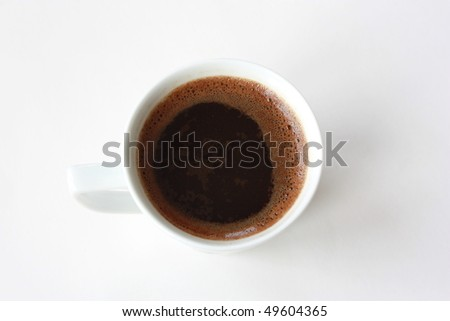Coffee cup from above on the white background