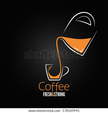 coffee cup glass pot design background illustration - stock photo