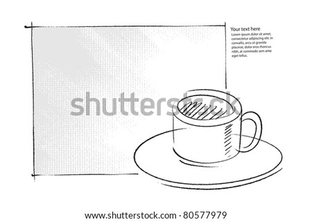 coffee cup icon, simple freehand drawing (raster version) - stock photo