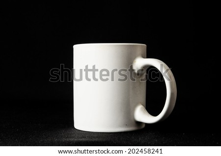 Coffee Cup Icons Top and Side View with Black Background - stock photo