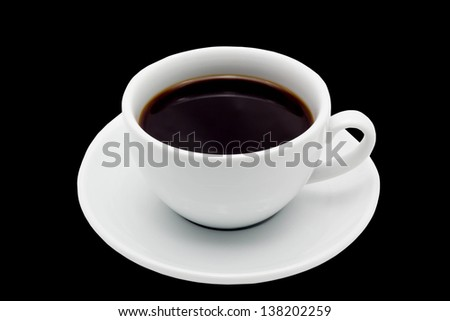 coffee cup isolated on black background - stock photo