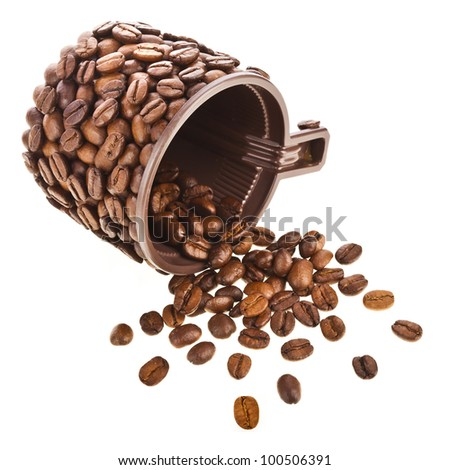 Coffee cup made of beans isolated on white background - stock photo