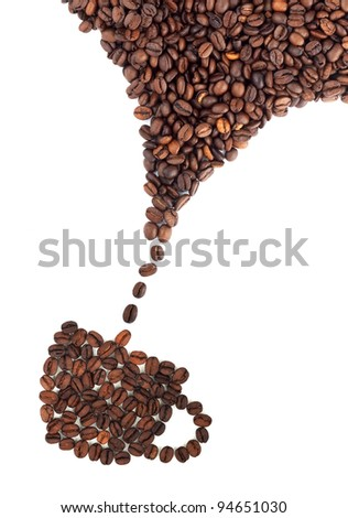 Coffee cup made of beans on white background - stock photo
