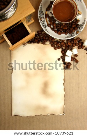 coffee cup, mill and paper with space for menu - stock photo