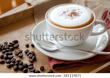 Coffee cup of cappuccino - stock photo