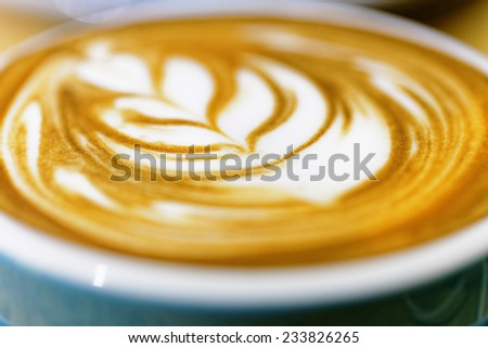 Coffee  , Cup of Cappuccino on the white wooden table  - stock photo