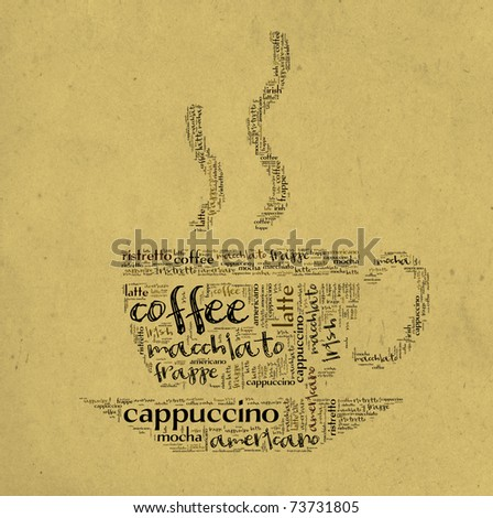 Coffee cup of words - stock photo