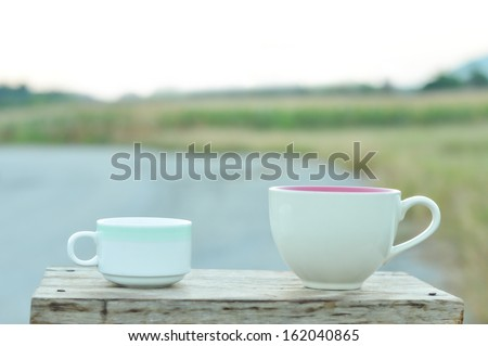 coffee cup om wooden