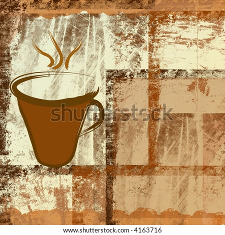 Coffee cup on brown grunge frames background - stock photo