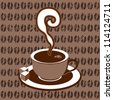 Coffee cup on plate icon, illustration - stock photo