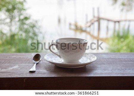Coffee cup on terrace outdoor
