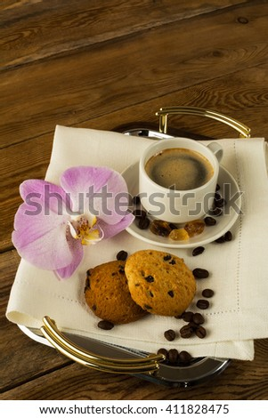 Coffee cup on the serving tray. Cup of coffee. Morning coffee. Coffee cup. Coffee mug - stock photo
