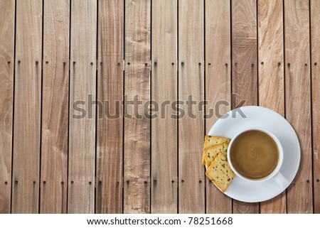 Coffee cup on wooden.