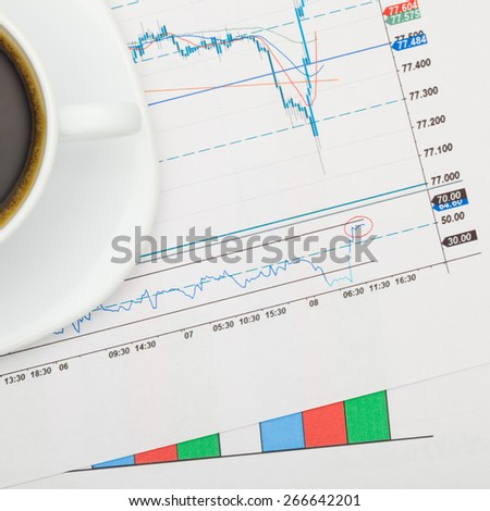 Coffee cup over financial charts - close up studio shot - stock photo
