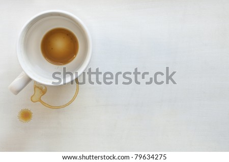 Coffee cup over white painted background.  Dregs in the bottom of the cup, with stains.  Lots of copyspace.