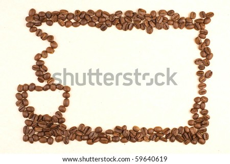 Coffee cup pattern make up by coffee bean on card paper - stock photo
