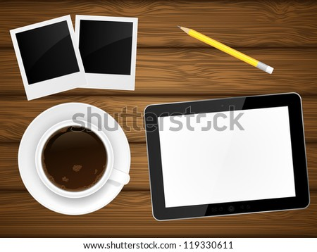 Coffee cup, photo frame and tablet pc on wooden background. Illustration. - stock photo