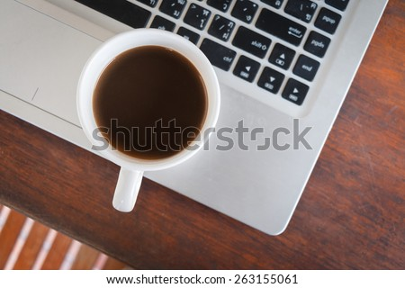 coffee cup put on laptop