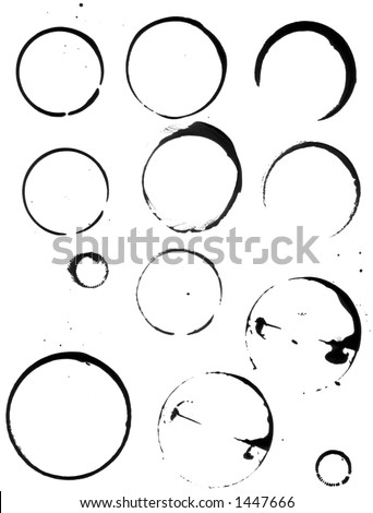 Coffee cup stains, a range of cups and other round things were used to print these stain marks with pigmented black ink, scanned at high res. - stock photo