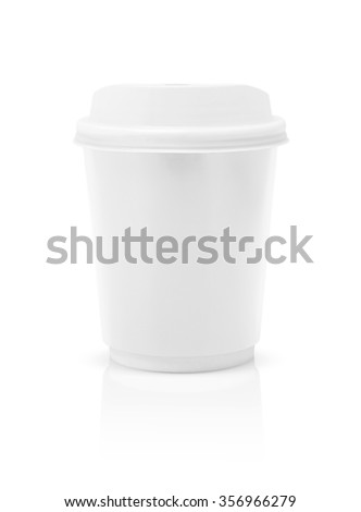 coffee cup to go isolated on white background with clipping path - stock photo