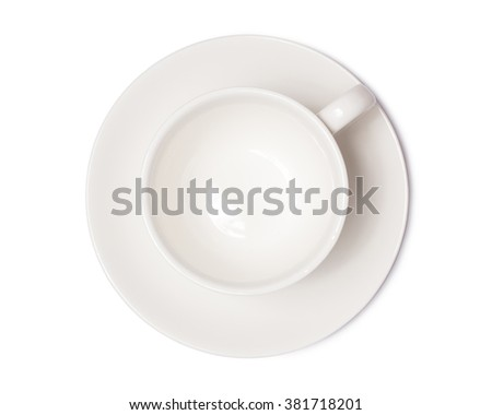 coffee cup top view  isolated on white background. with clipping path. - stock photo