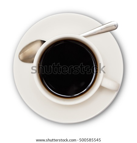 coffee cup top view  isolated on white background. with clipping path.