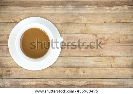coffee cup top view on old wood table background