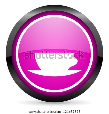 coffee cup violet glossy icon on white background