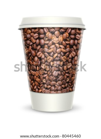 Coffee cup with a label which shows the roasted coffee beans. Isolated on white - stock photo