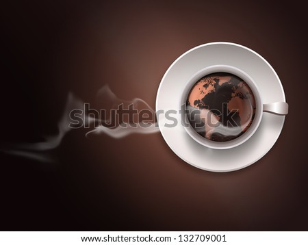 coffee cup with a world map on a dark background - stock photo
