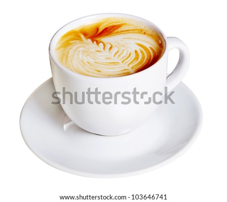 Coffee cup with artistic cream decoration, isolated on white background - stock photo